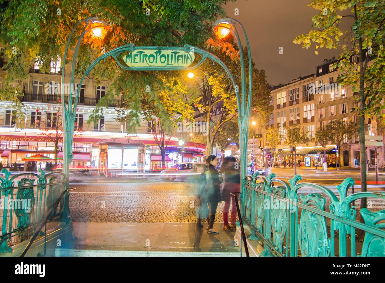 metro in the center of Paris by night - Stock Image