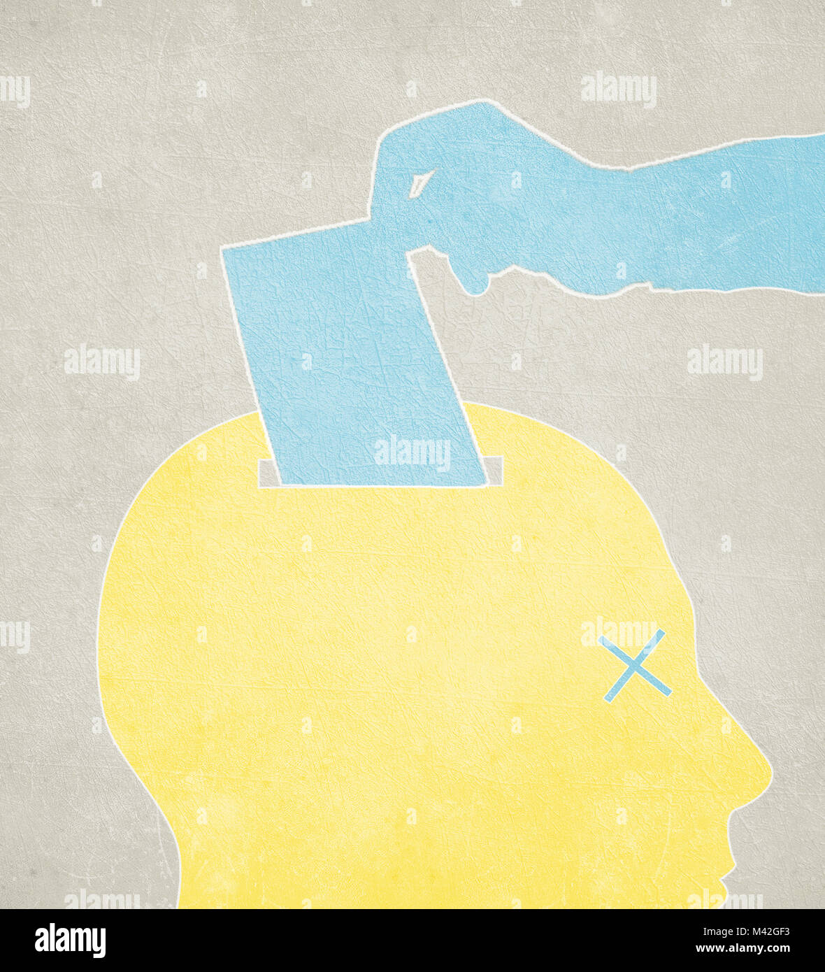 vote concept digital illustration with human head - Stock Image