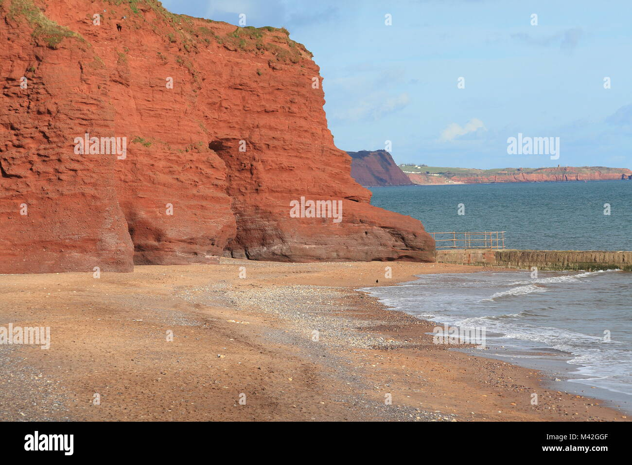 View from Dawlish towards Exmouth Orcombe point, Devon, England, UK - Stock Image