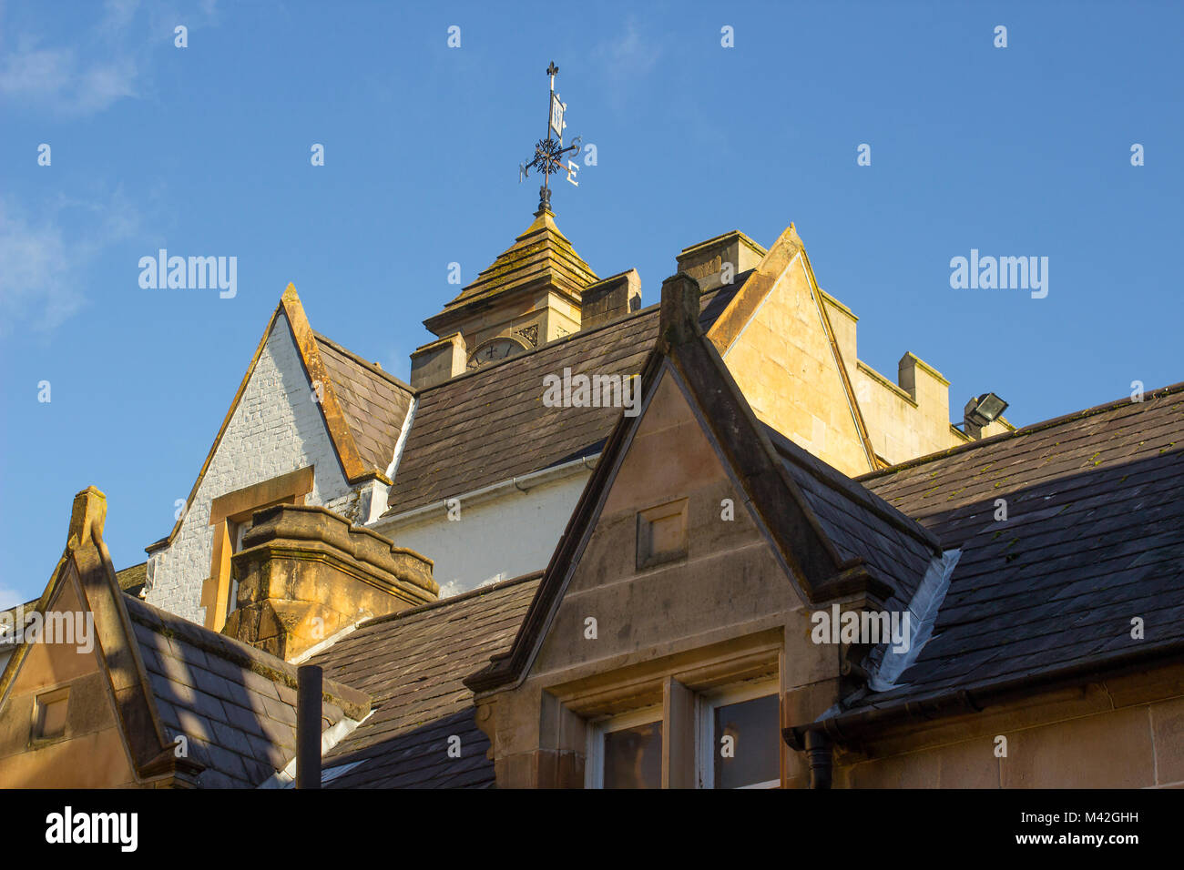 A detailed view of the Bangor Town Hall and Civic Centre in County Down Northern Ireland showing its ornate architectural - Stock Image