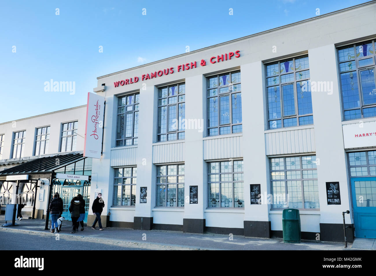 A Harry Ramsdens fish and chip restaurant and takeaway premises situated on the seafront at Bournemouth,UK the worlds Stock Photo