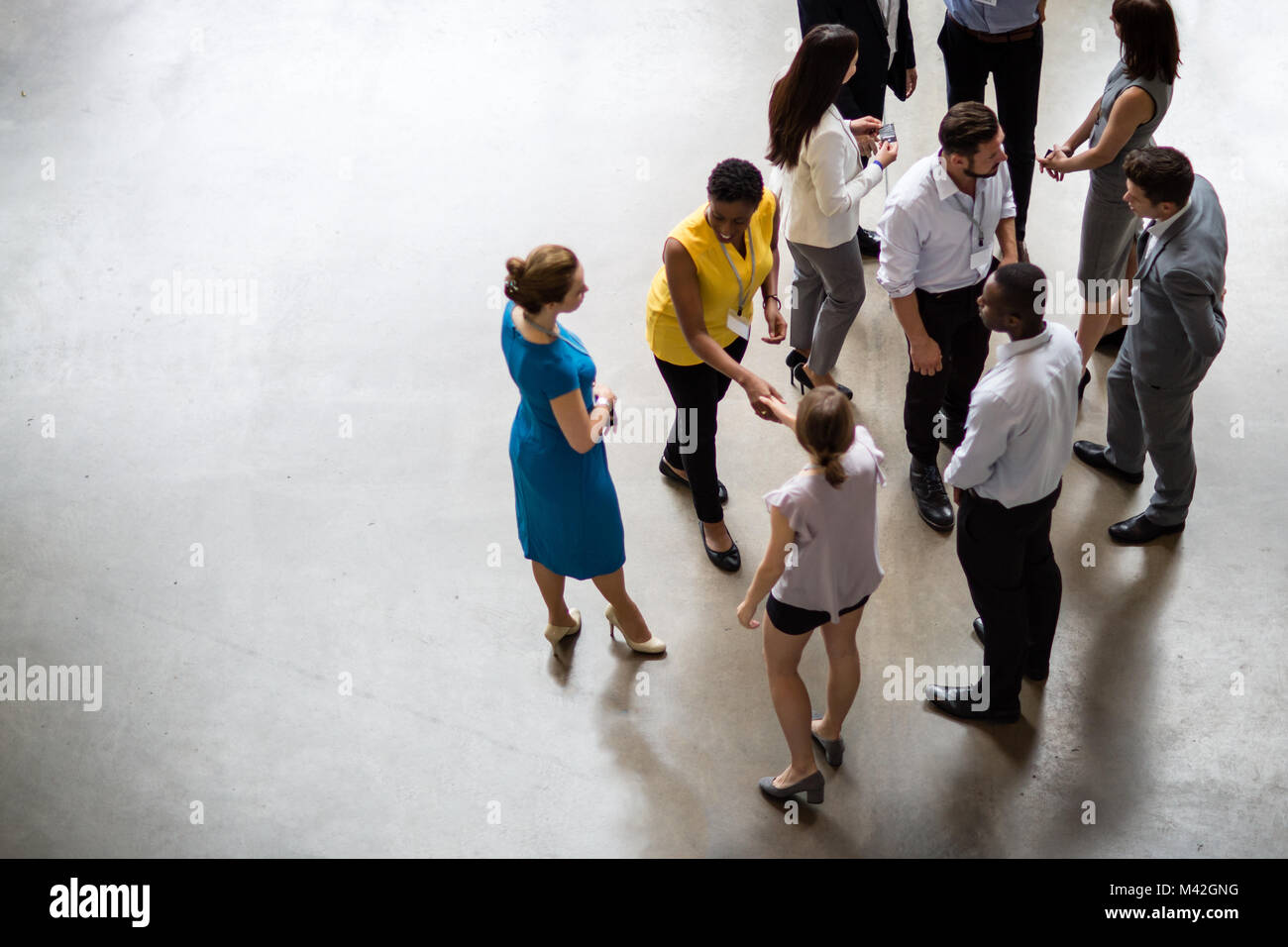 Overhead shot of a networking event - Stock Image