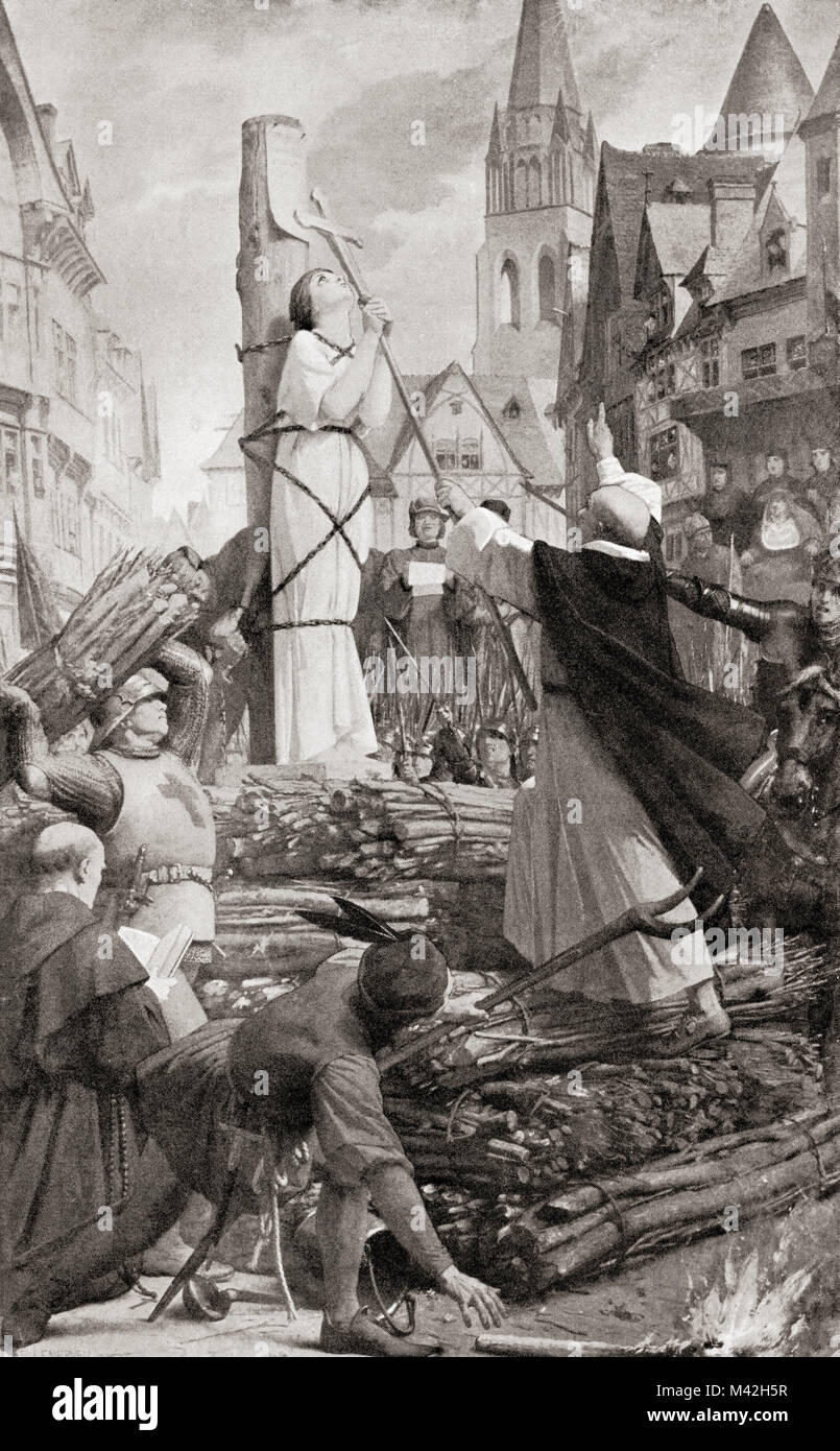 The martydom of Joan of Arc.  Joan of Arc, c. 1412 -1431, aka The Maid of Orléans. Heroine of France for her - Stock Image