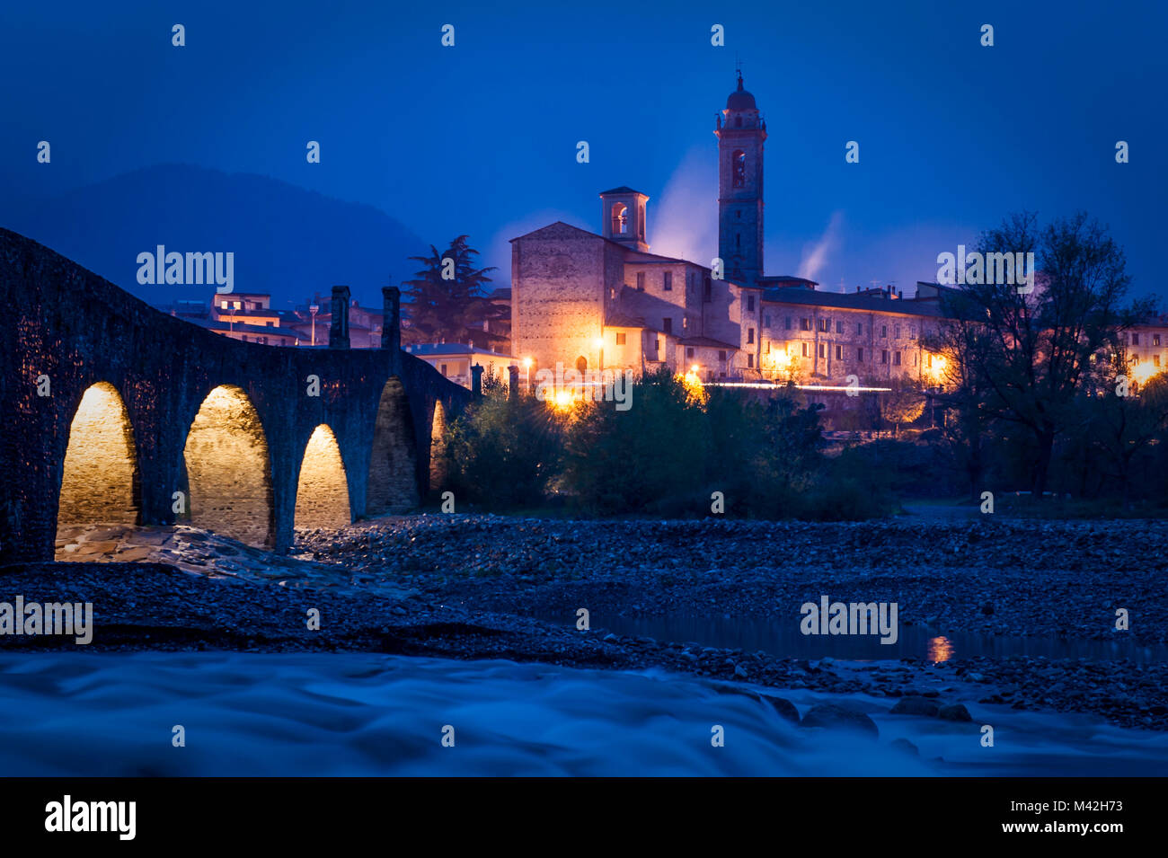 Bobbio, Trebbia Valley, Piacenza, Emilia Romagna, Italy. The small town near Trebbia river. - Stock Image