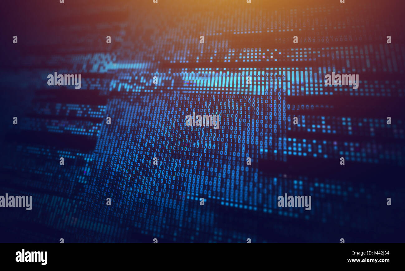 Corrupted computer data loss abstract background with glitch effects over digital binary code. IT industry, cybersecurity - Stock Image