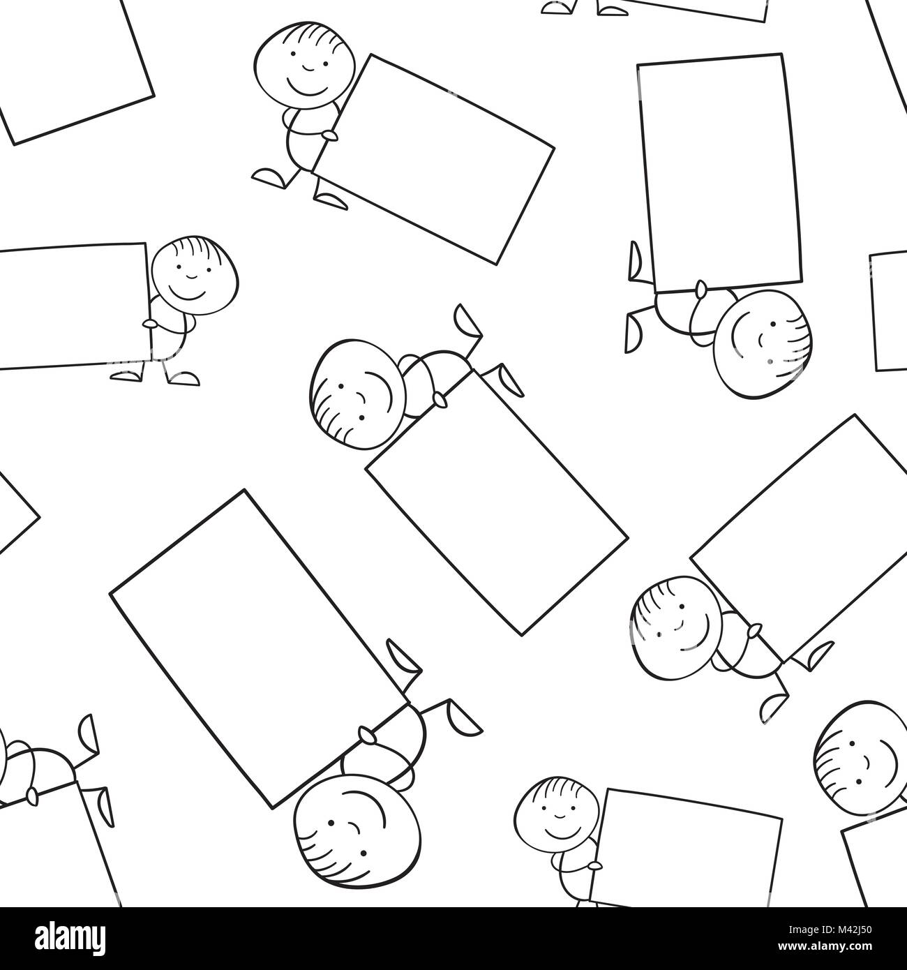 Cartoon kid with placard in their hands seamless pattern background. Business flat vector illustration. Placard - Stock Image