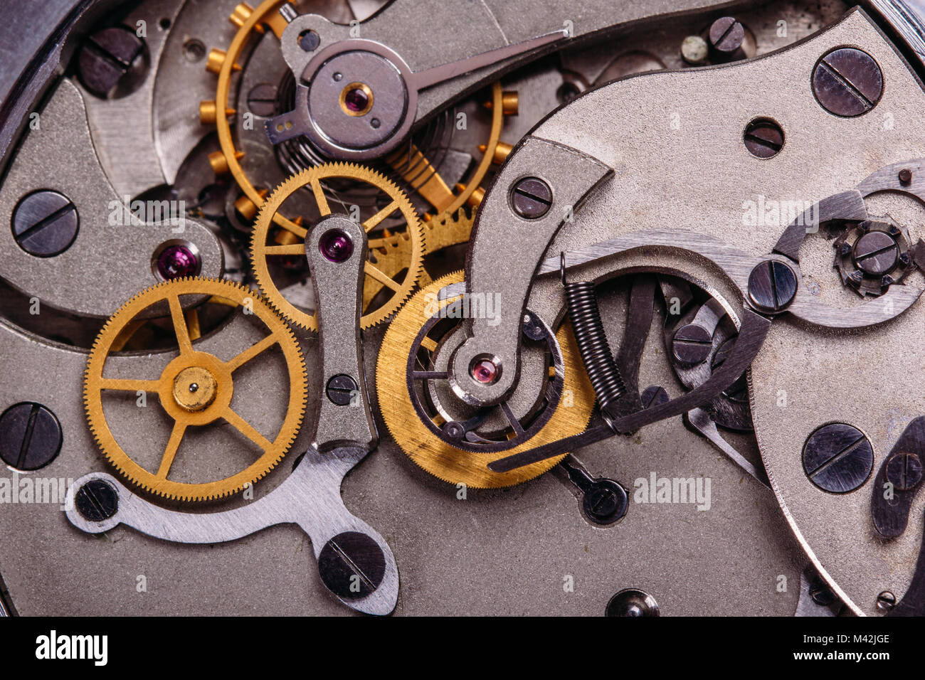 An open mechanism with gears of an old Soviet chronometer
