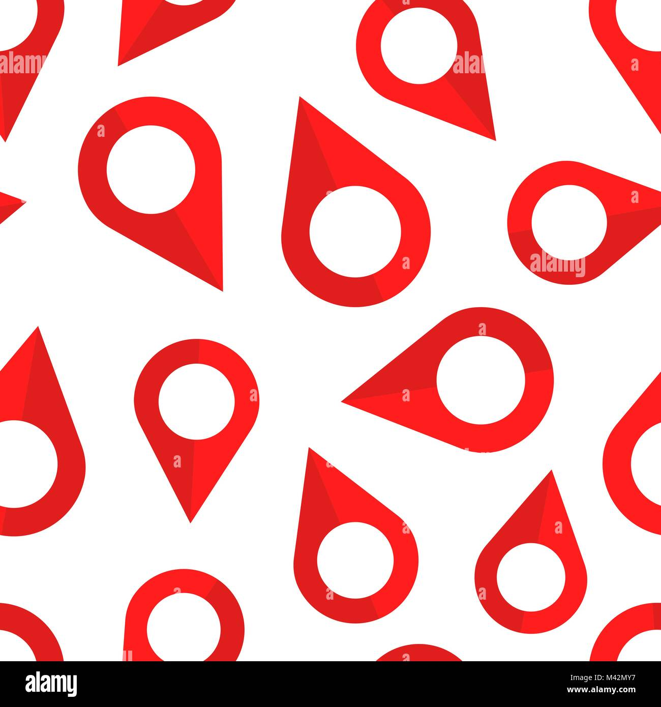 Pin location seamless pattern background. Business flat vector illustration. Navigation map, gps concept symbol Stock Vector