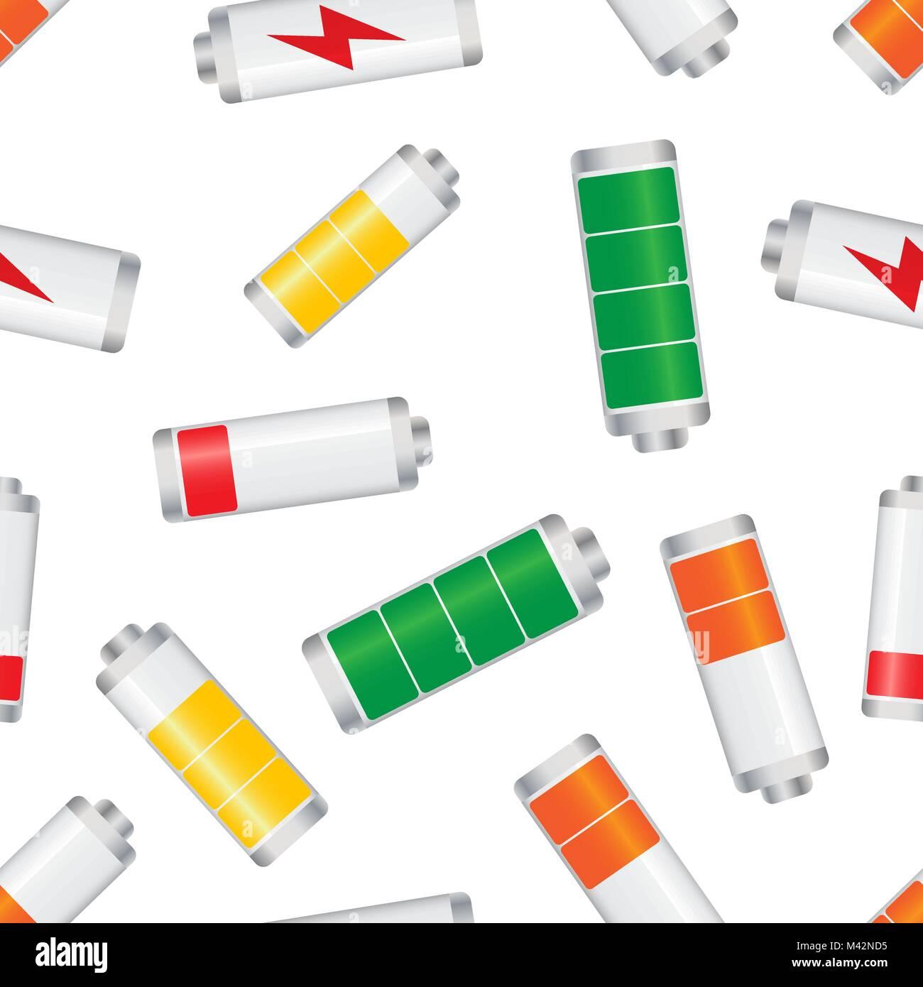 Battery Level Indicator Seamless Pattern Background Business Flat Vector Illustration Symbol