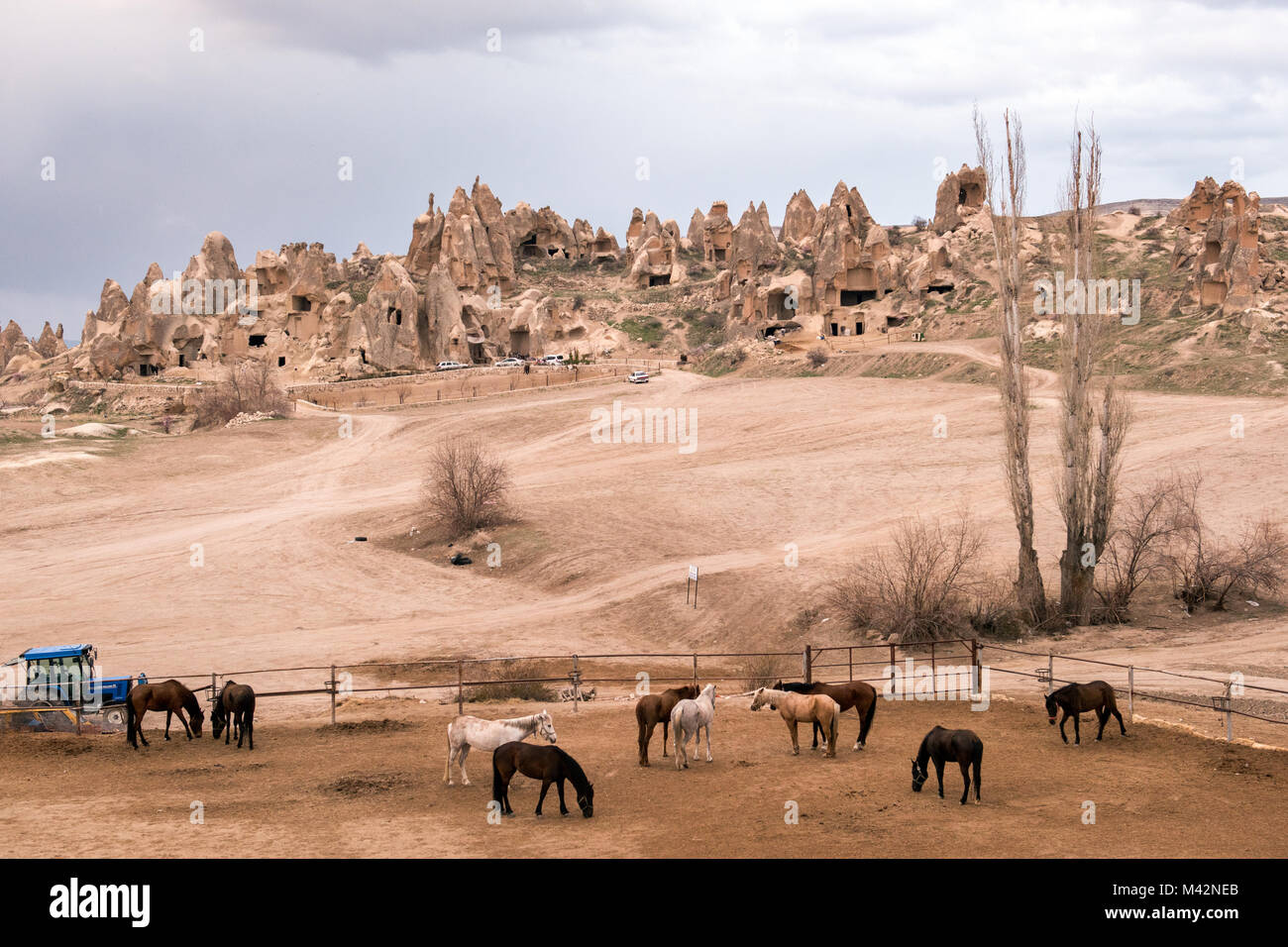 The Cappadocian Region located in the center of the Anatolian Region of Turkey, with its valley, canyon, hills and - Stock Image