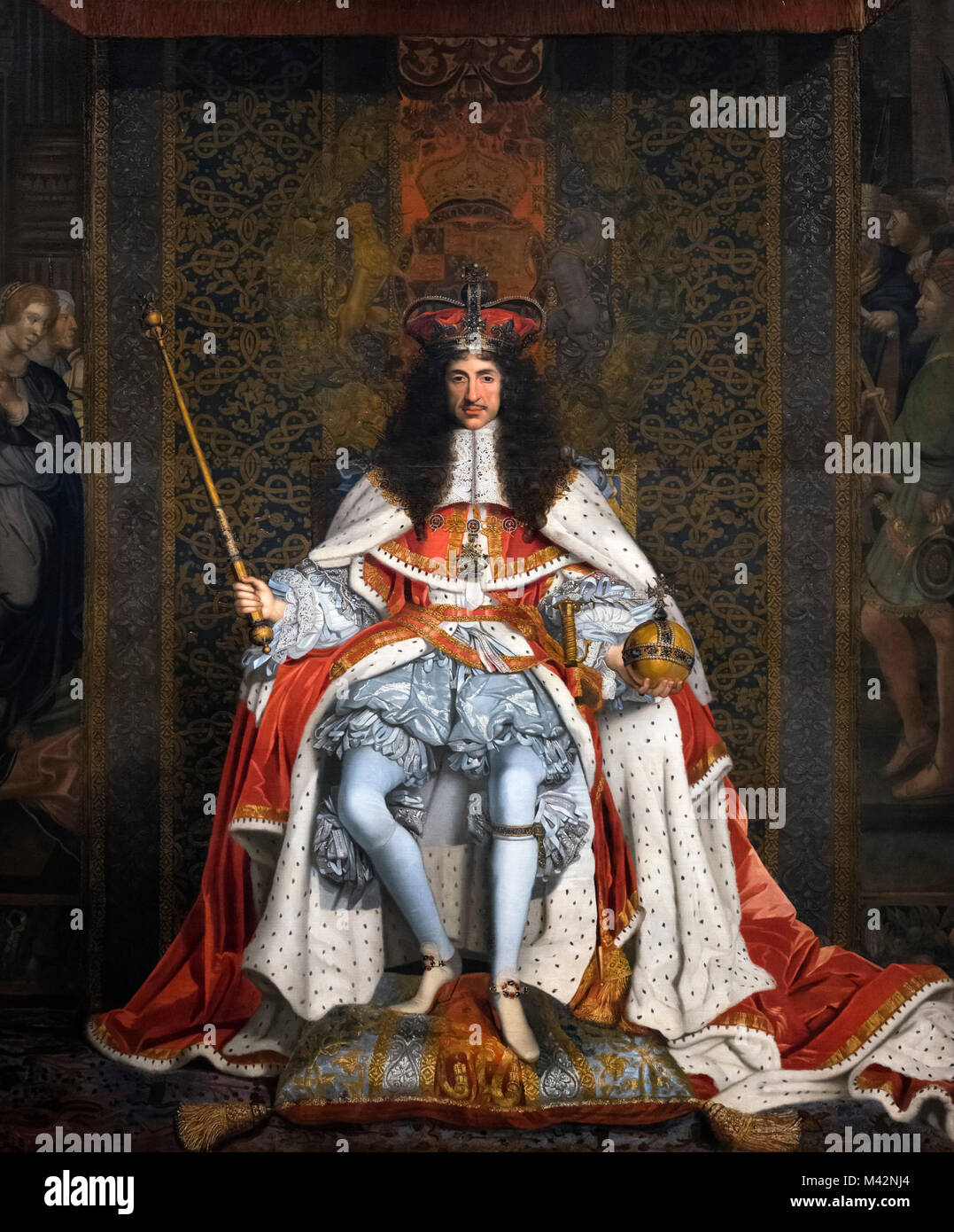 Charles II. Portrait of King Charles II by John Michael Wright, oil on canvas, c.1671-76 - Stock Image