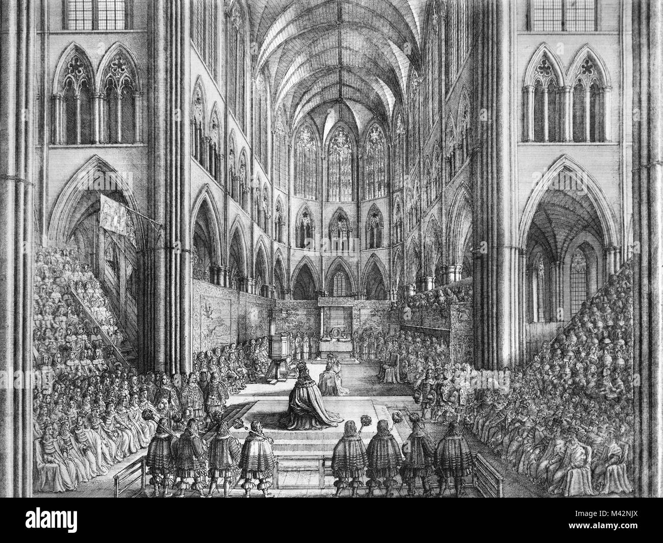 The Coronation of King Charles II, an etching by Wenceslas Hollar, 1662. - Stock Image
