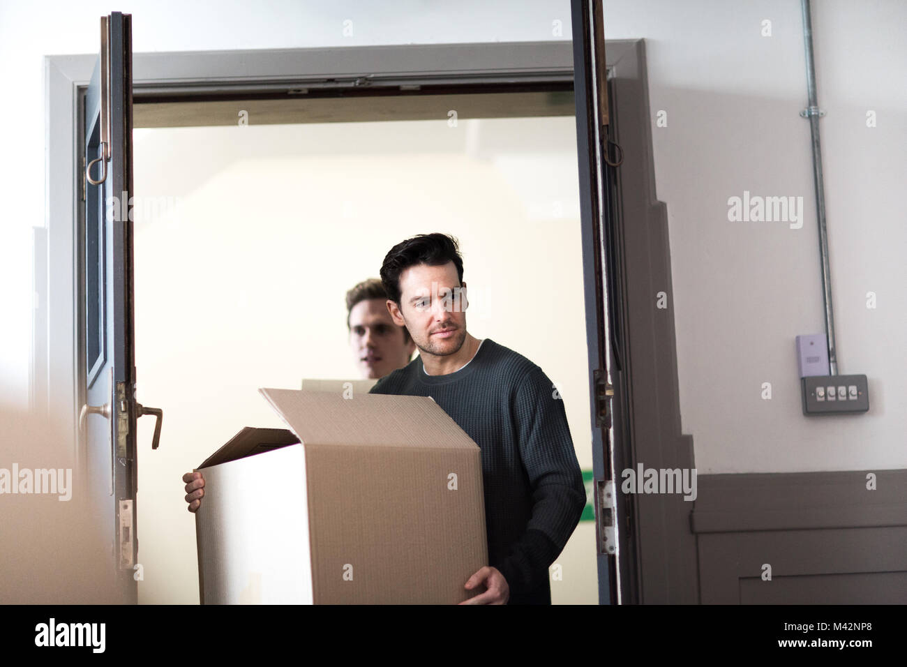 Young male couple moving home Stock Photo