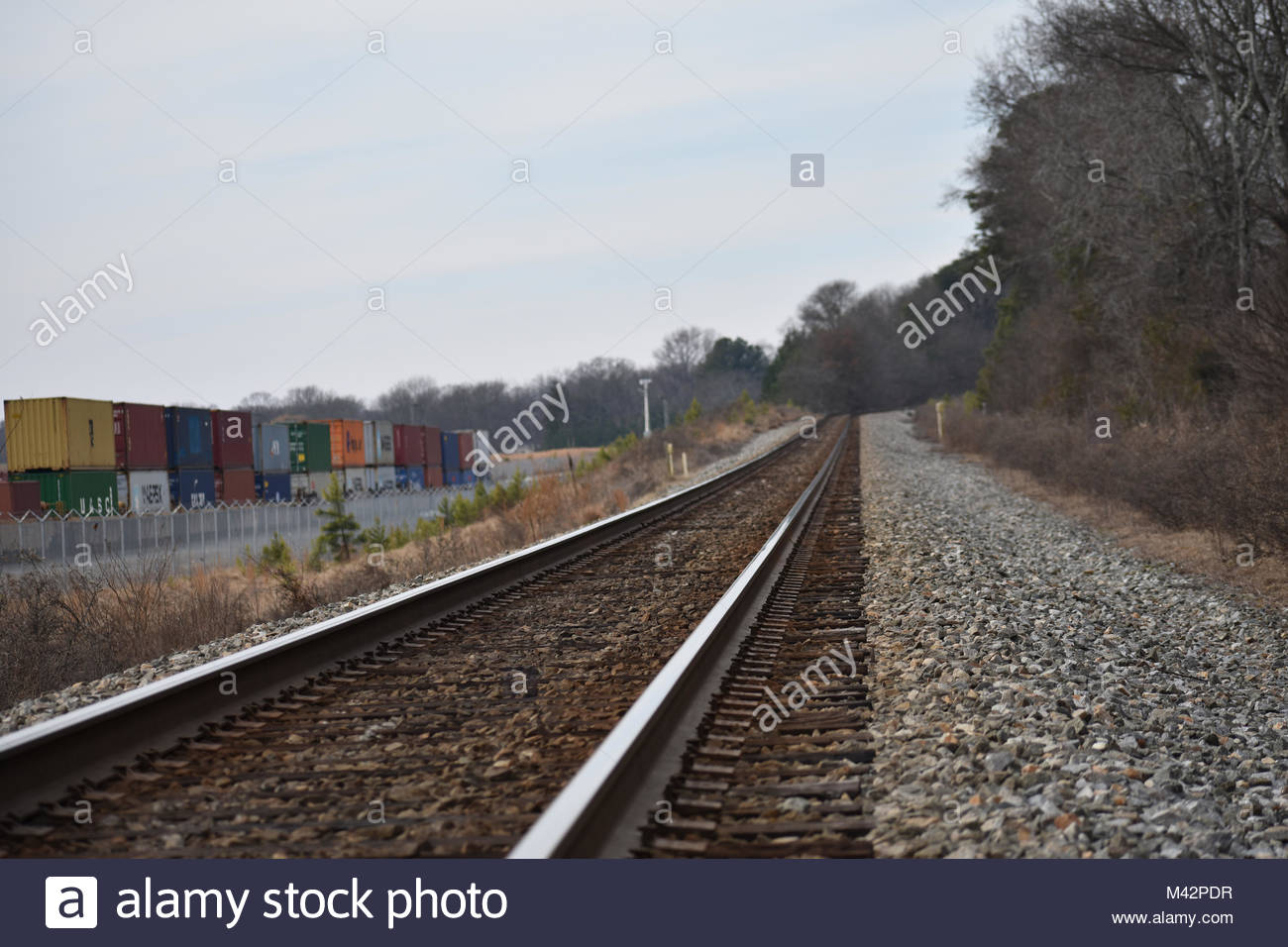 Rail tracks near an intermodal freight yard in USA - Stock Image