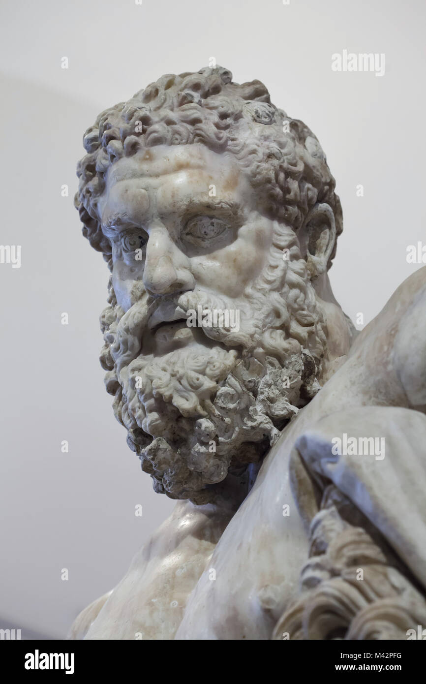 Head of the Farnese Hercules. Roman marble copy from the end of the 2nd century AD of the early 3rd century AD after Stock Photo