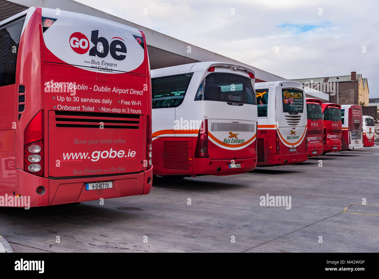 Bus Eireann buses and coaches parked at Cork Bus Station, Parnell