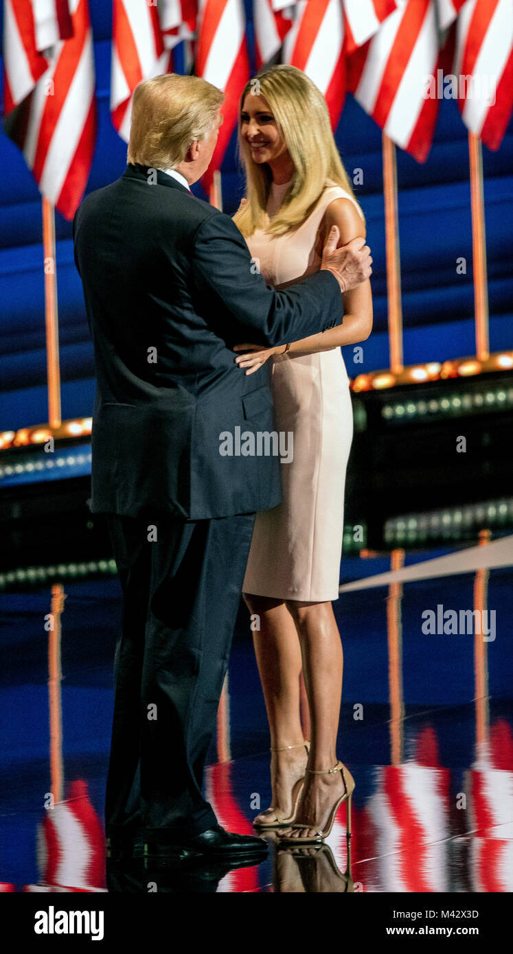 Cleveland, Ohio, USA, 21th July, 2016 Republican Presidential candidate Donald Trump hugs his daughter Ivanka after - Stock Image