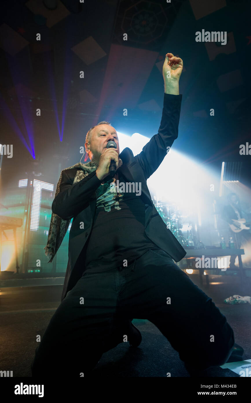 Simple Minds take to the stage in Glasgow Barrlowlands .Performace on the 13th of February 2018. Premiere the new - Stock Image
