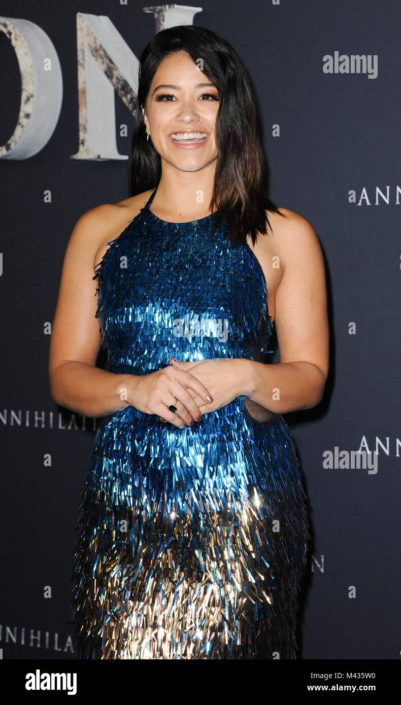 Los Angeles, CA, USA. 13th Feb, 2018. Gina Rodriguez at arrivals for ANNIHILATION Premiere, The Regency Village Stock Photo