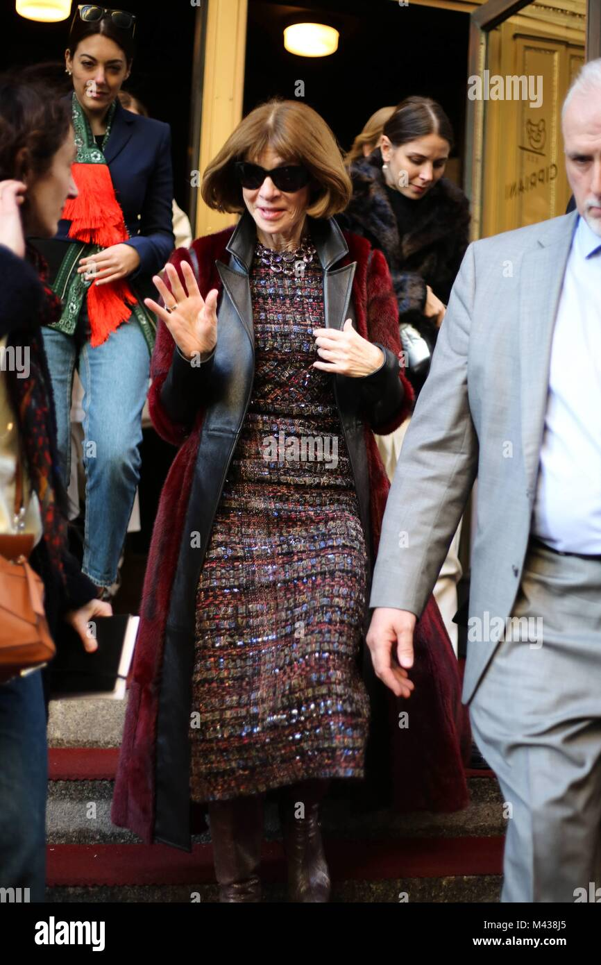Anna Wintour, Editor in Chief of Vogue Magazine, leaving