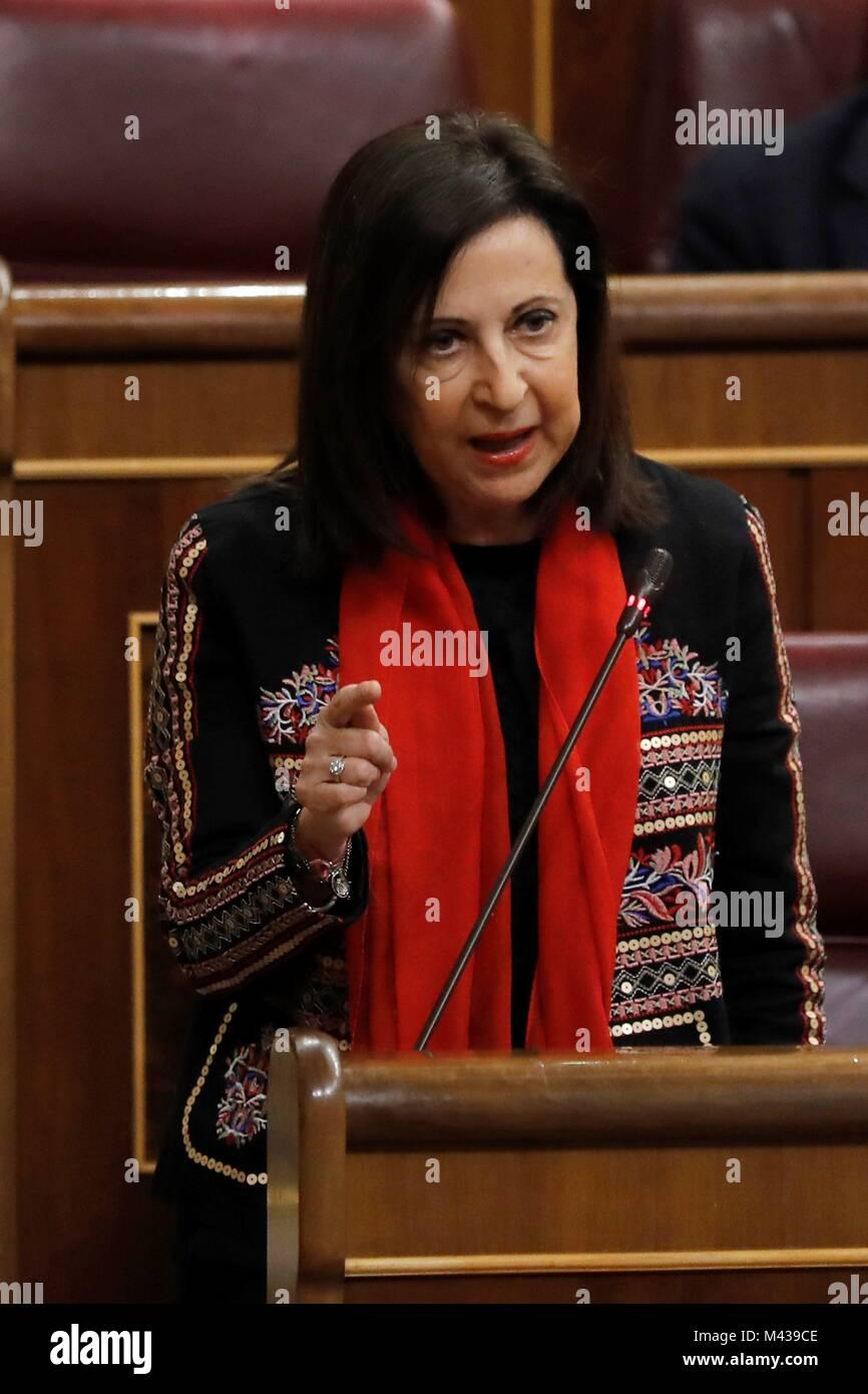 Madrid, Spain. 14th Feb, 2018. Spanish main opposition Socialist Party (PSOE)'s Parliamentary Spokeswoman, Margarita - Stock Image