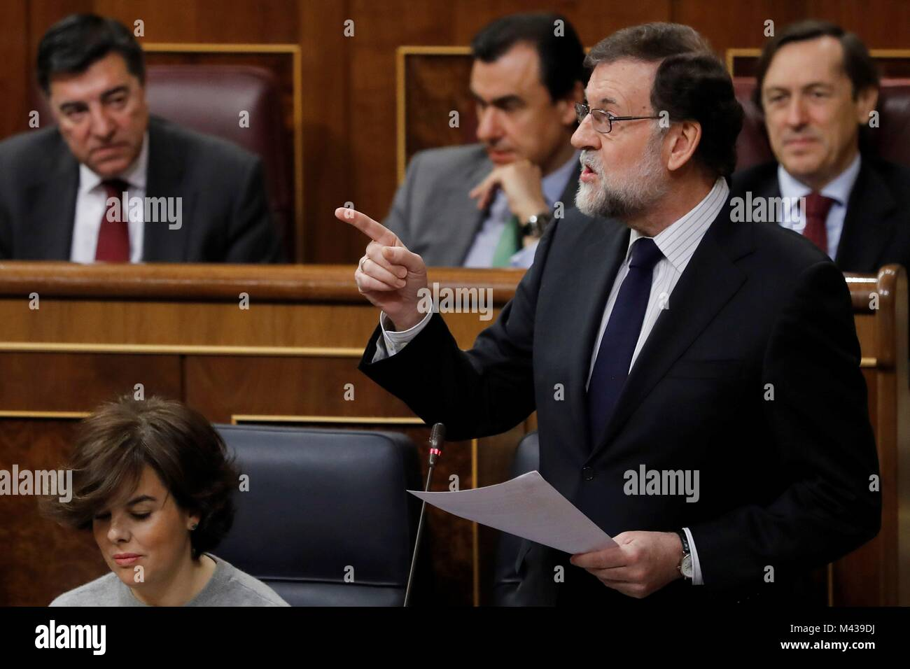 Madrid, Spain. 14th Feb, 2018. Spanish Prime Minister, Mariano Rajoy (R), answers a question next to Deputy Prime - Stock Image