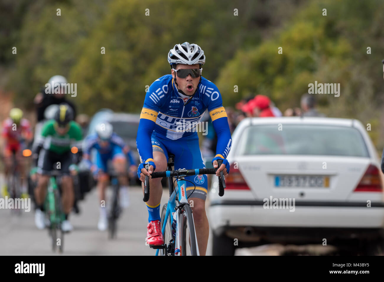 Algarve, Portugal, 14th Feb, 2017, João Rodrigues (W52-FC Porto) taking 1st on the Cat 4 climb of Aldeia dos - Stock Image