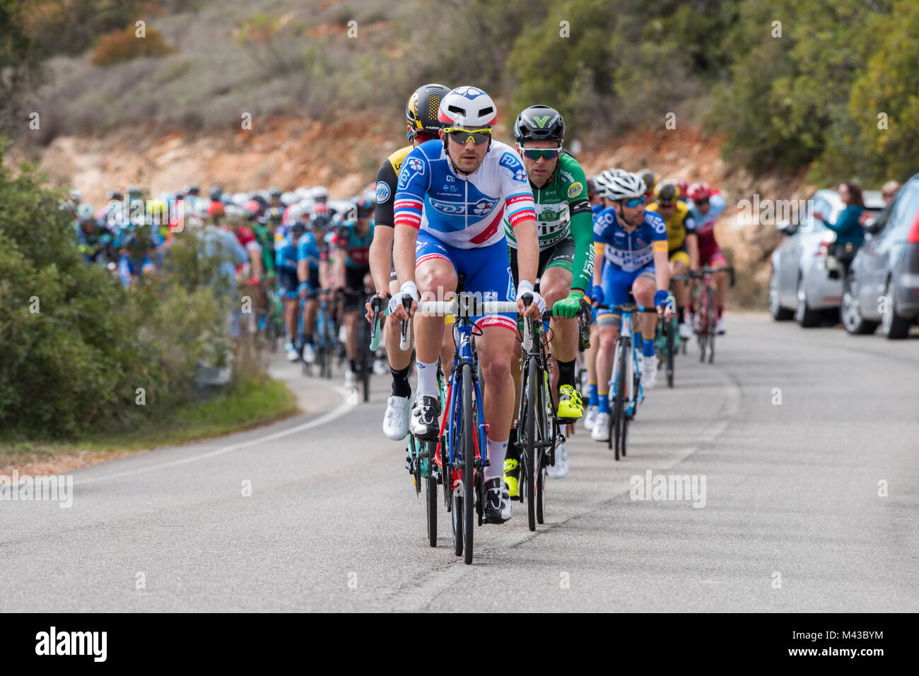 Algarve, Portugal, 14th Feb, 2017, The peleton on the Cat 4 climb of Aldeia dos Matos.  Credit: Craig Rogers Credit: - Stock Image