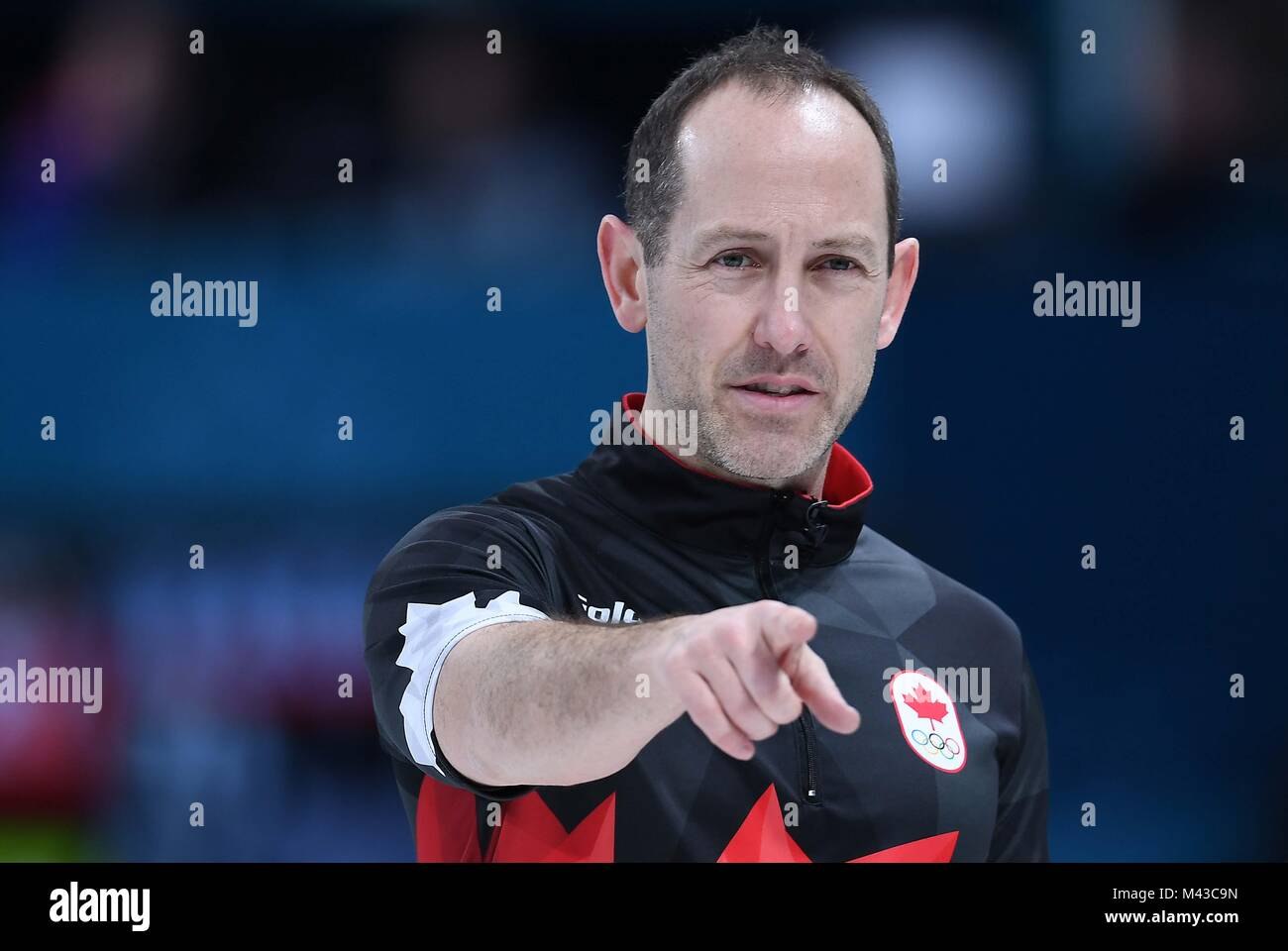 Gangneung, South Korea. 14th February, 2018. Brent Laing (CAN). Mens curling. Gangneung curling centre. Gangneung Stock Photo