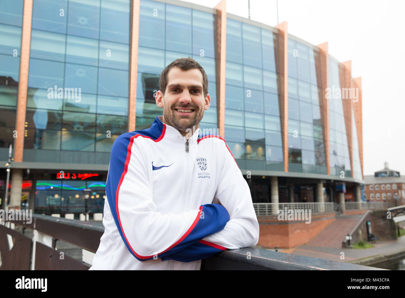 Birmingham, England, UK. 14th February 2018, Olympic Bronze Medalist high jumper Robbie Grabarz visiting the Arena - Stock Image