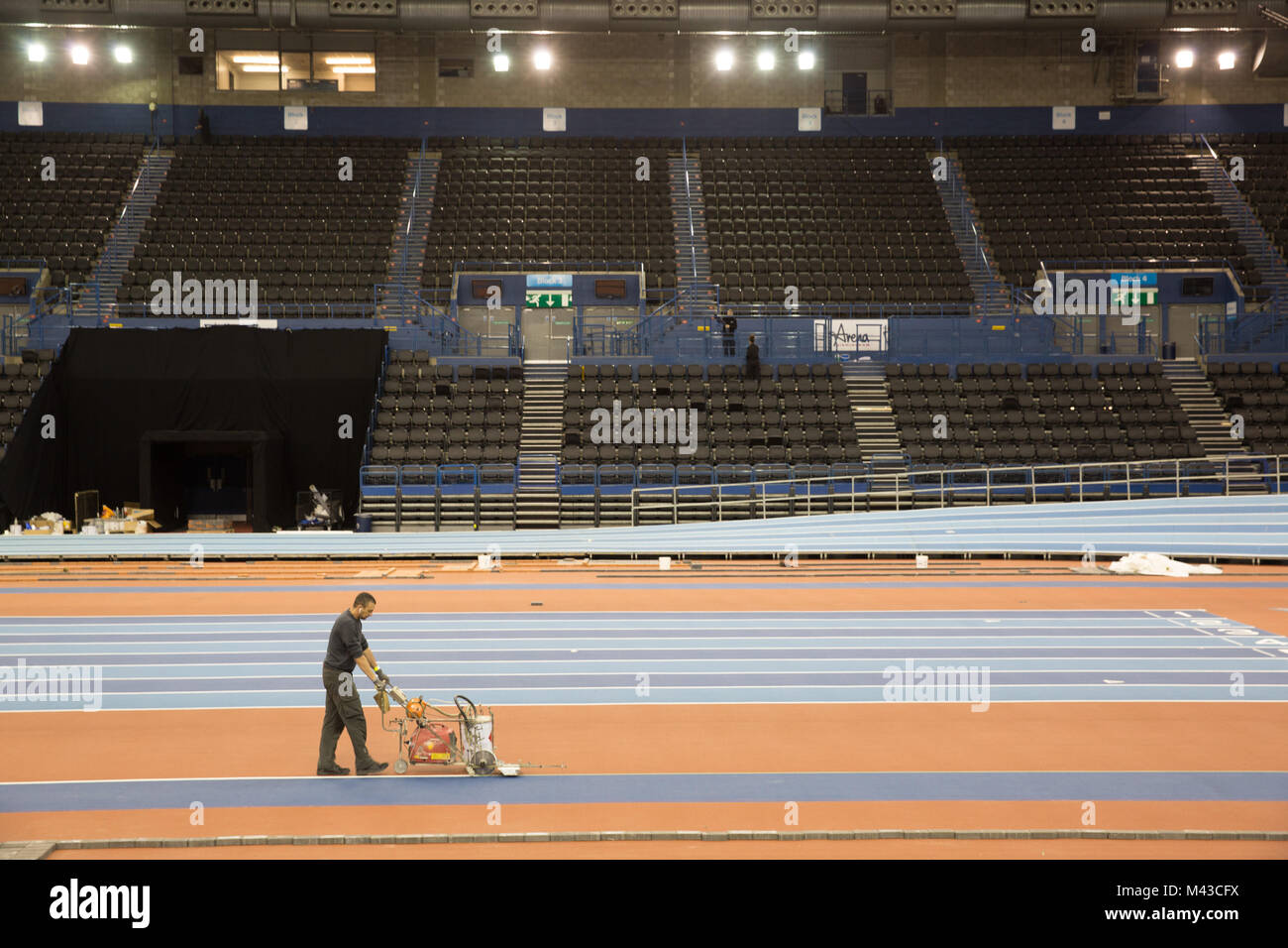The Birmingham Arena, being prepared for the World Indoor Athletic Championships to be held at the start of March - Stock Image