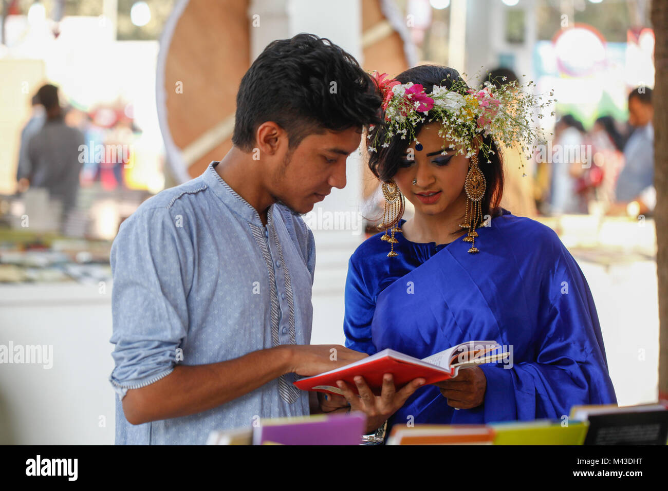 Dhaka bangladesh february 14 2018 bangladeshi couple in book fair to celebrate valentines day in dhaka on february 14 2018