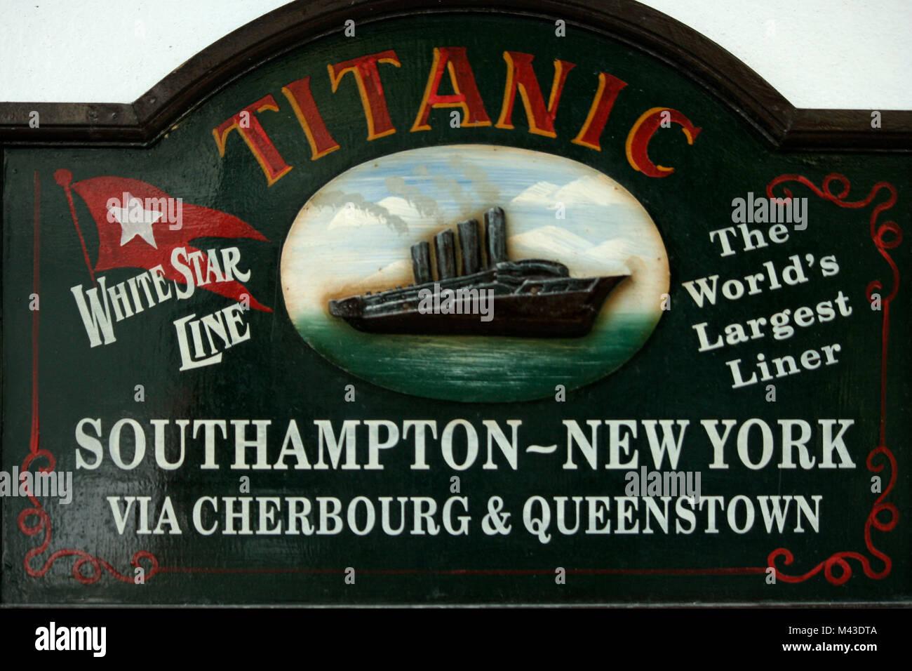 Titanic Sign outside Titanic Museum in Cobh, Ireland, County Cork - Stock Image