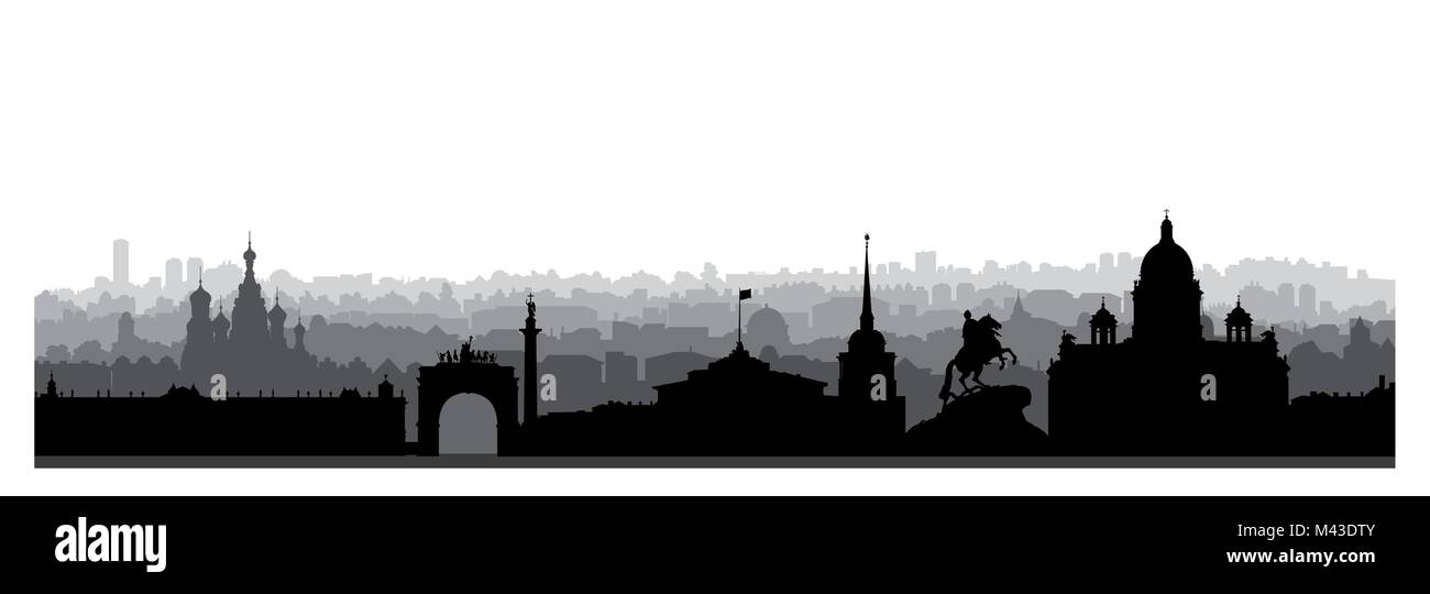 St. Petersburg city skyline, Russia. Tourist landmark silhouette. Russian famous place in Saint-Petersburg panoramic - Stock Vector