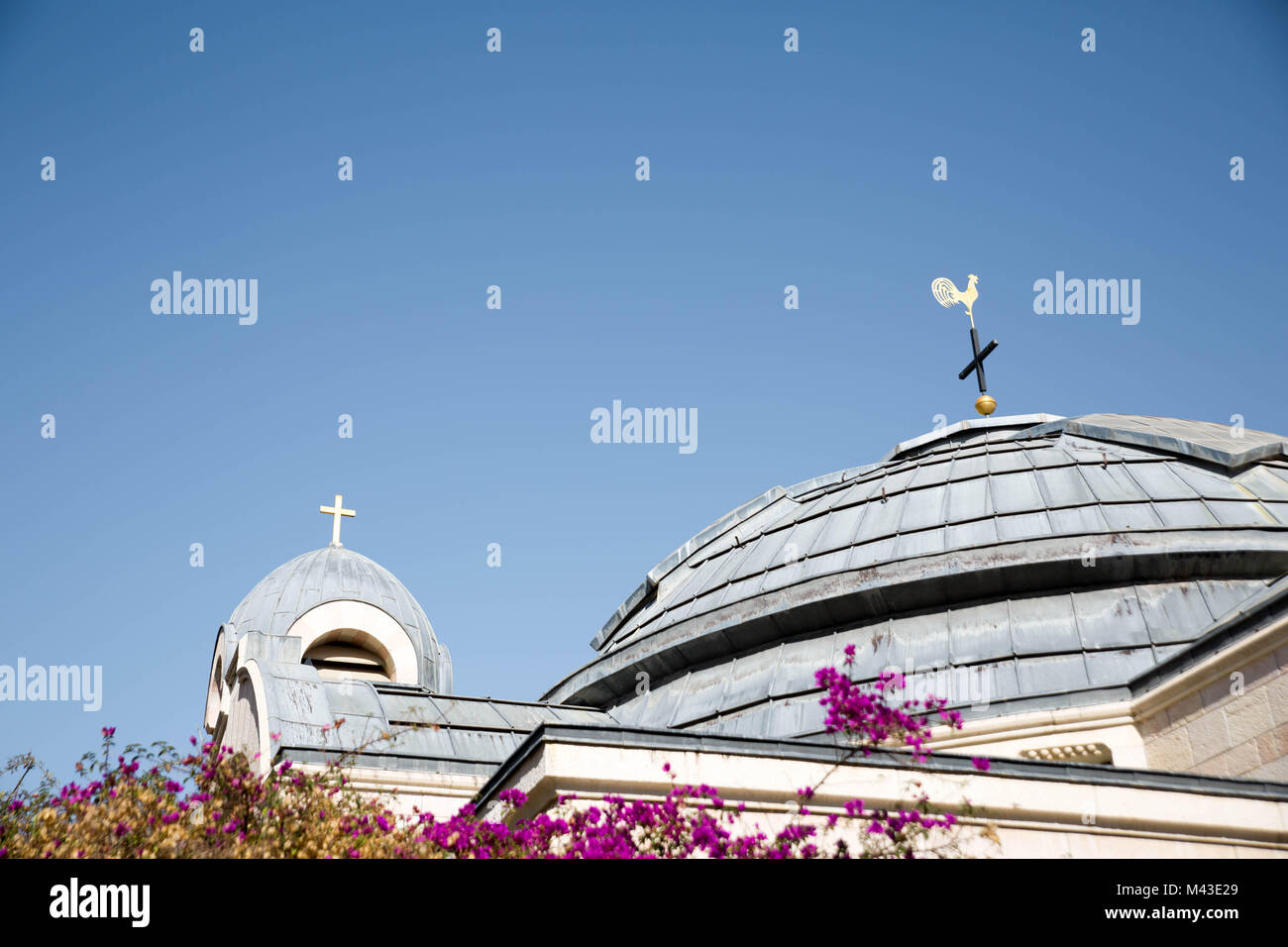 Cross and Roster on the Roof of Church of Saint Peter in Gallicantu - Stock Image