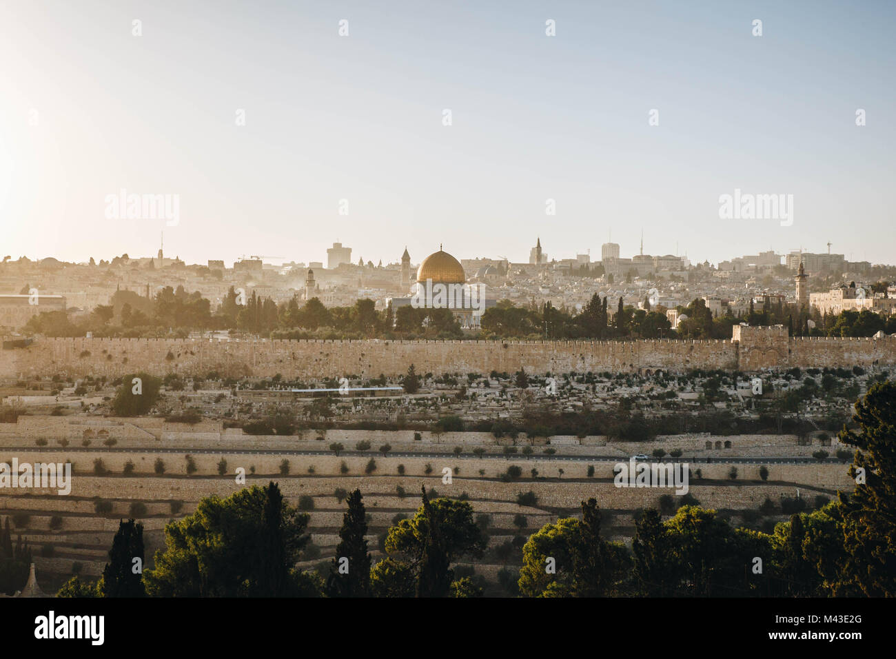 Sunset view of Dome of the Rock on Temple Mount, Jerusalem Stock Photo
