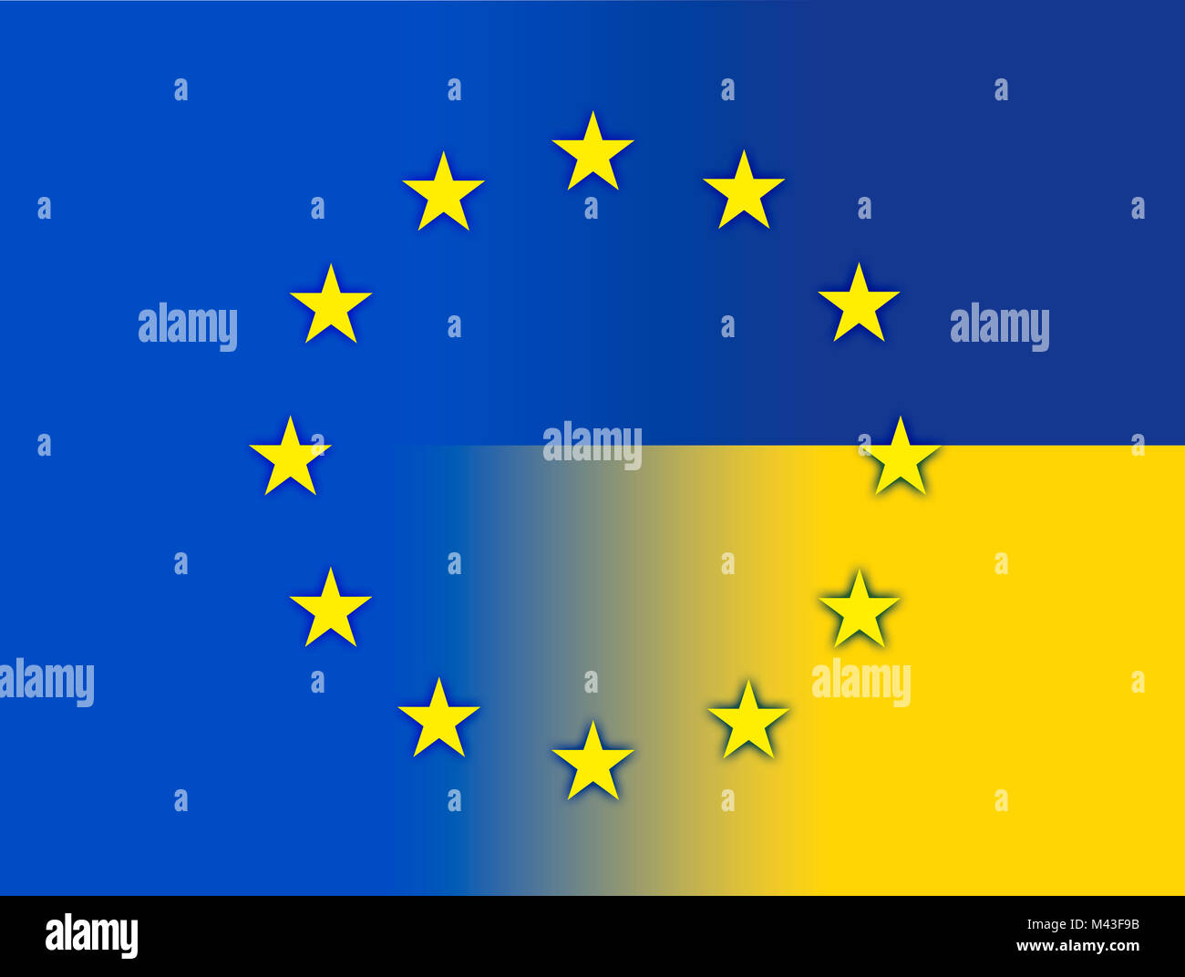 Ukraine and European Union flags - Stock Image
