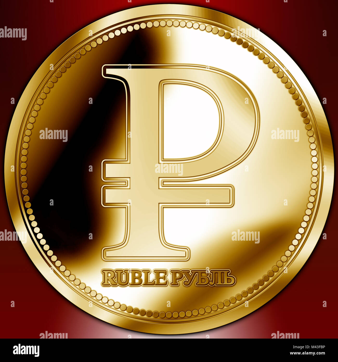 Russian Rouble symbol on the gold coin, Russia Stock Photo