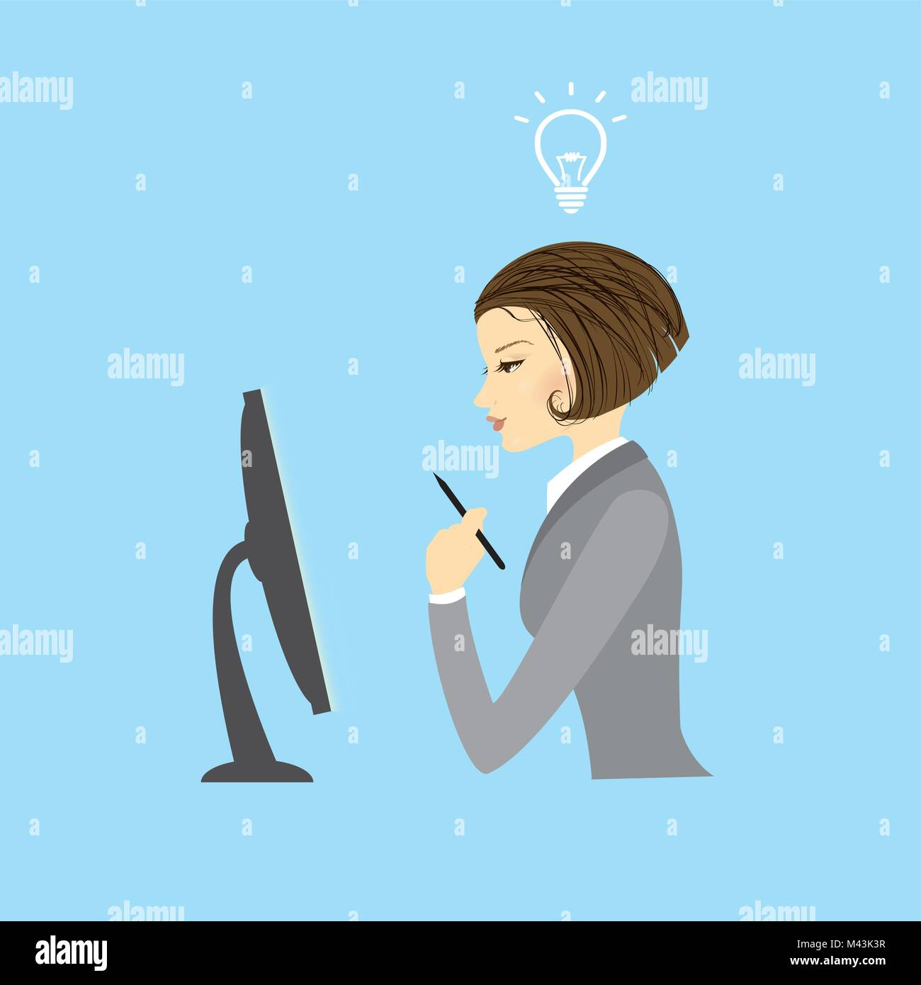 Business woman sitting at a computer monitor - Stock Vector