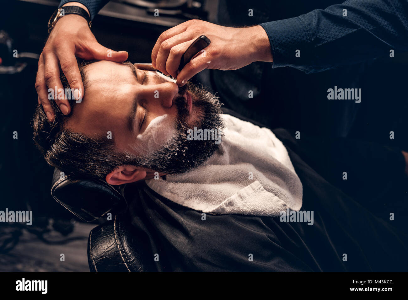 Close up image of barber - Stock Image