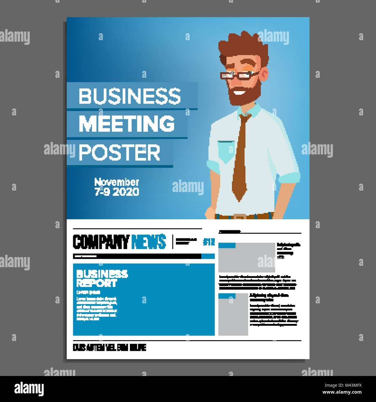 Business meeting poster vector businessman invitation for stock business meeting poster vector businessman invitation for conference forum brainstorming cover annual report a4 size flat cartoon illustration stopboris Images