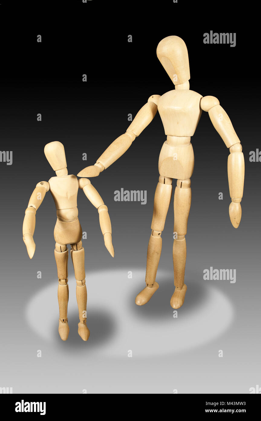 two puppets - fahter and child in interaction - Stock Image