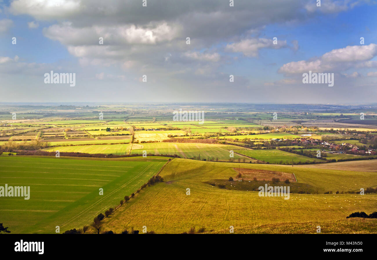 Hertfordshire countryside seen from the Ivinghoe Beacon - Stock Image