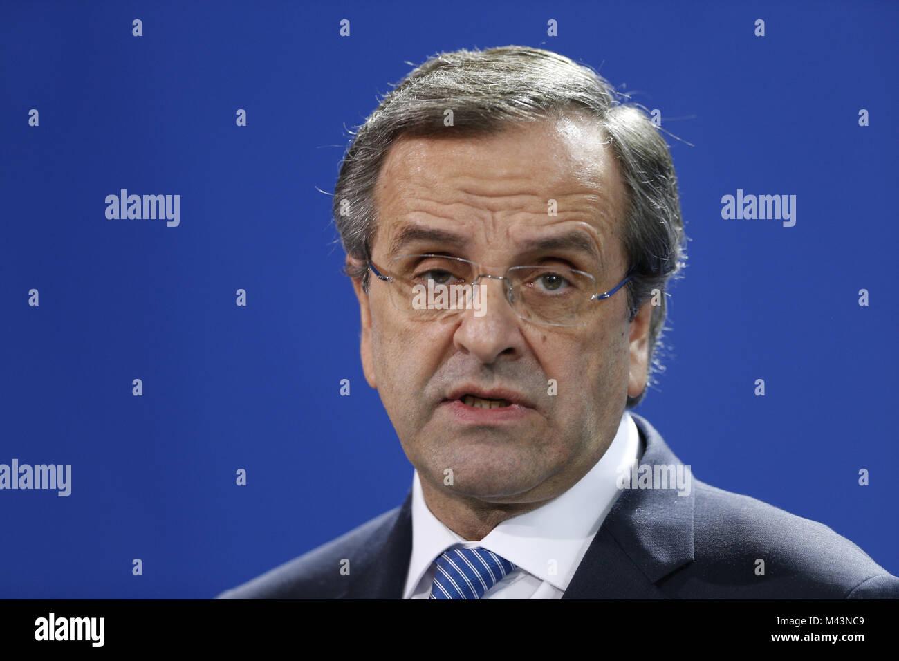 Samaras meets Merkel  in Berlin. - Stock Image