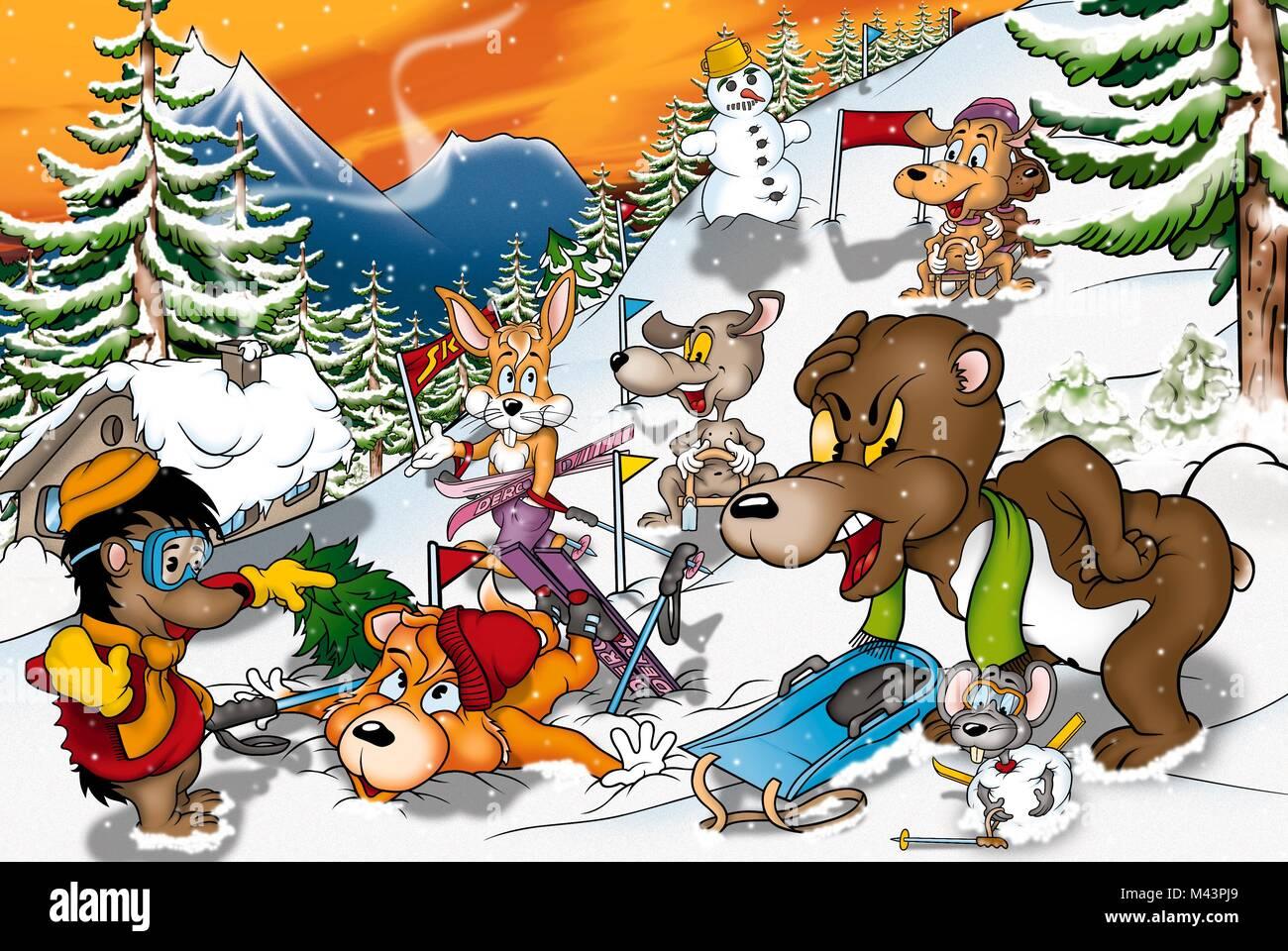 Animals in Winter - Stock Image