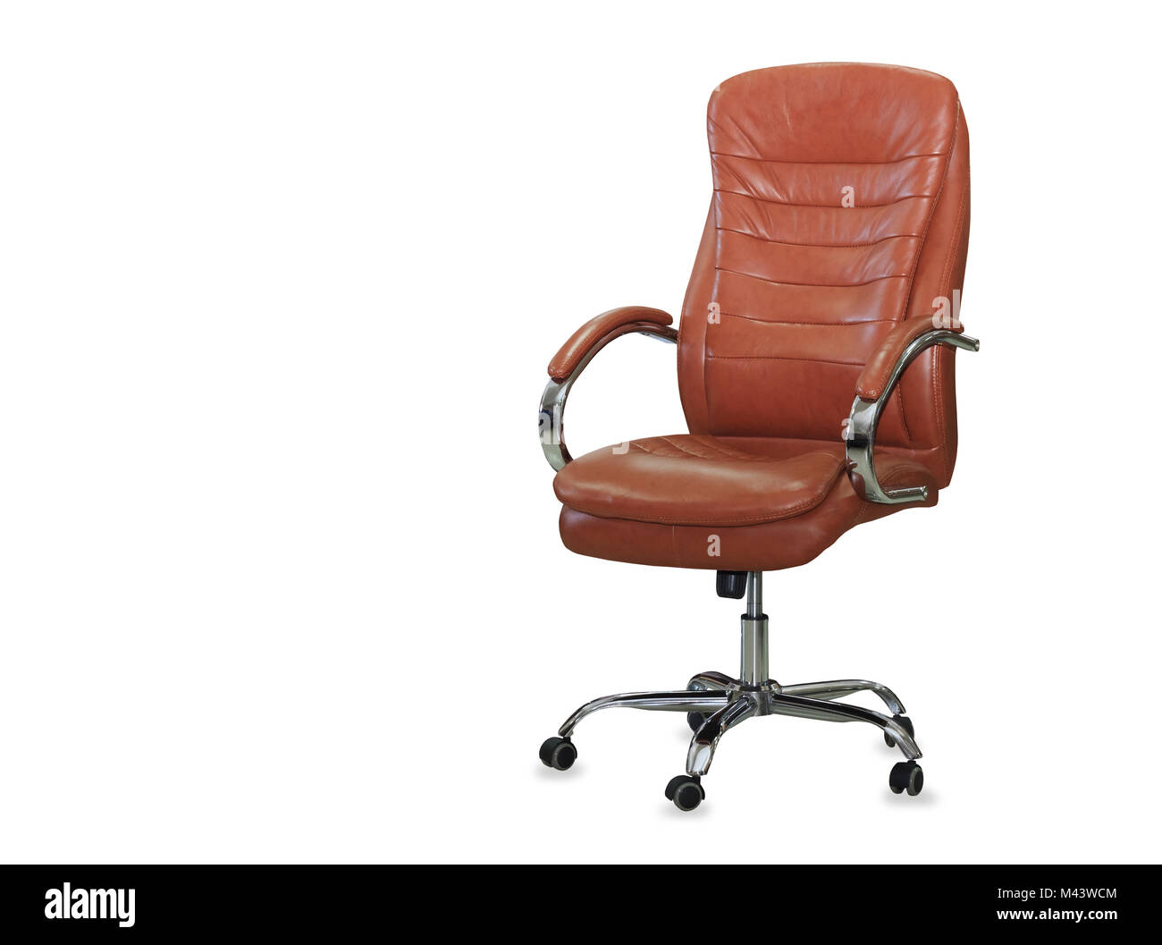 Modern Office Chair From Orange Leather. Isolated   Stock Image