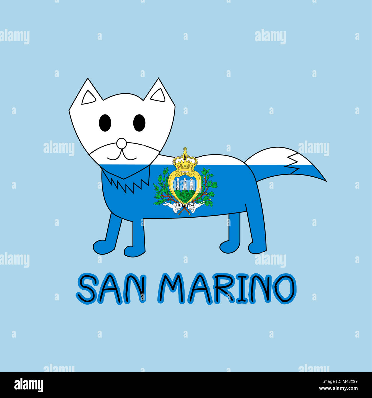 Color Imitation of San Marino Flag with Fox, Famous Animal - Stock Image