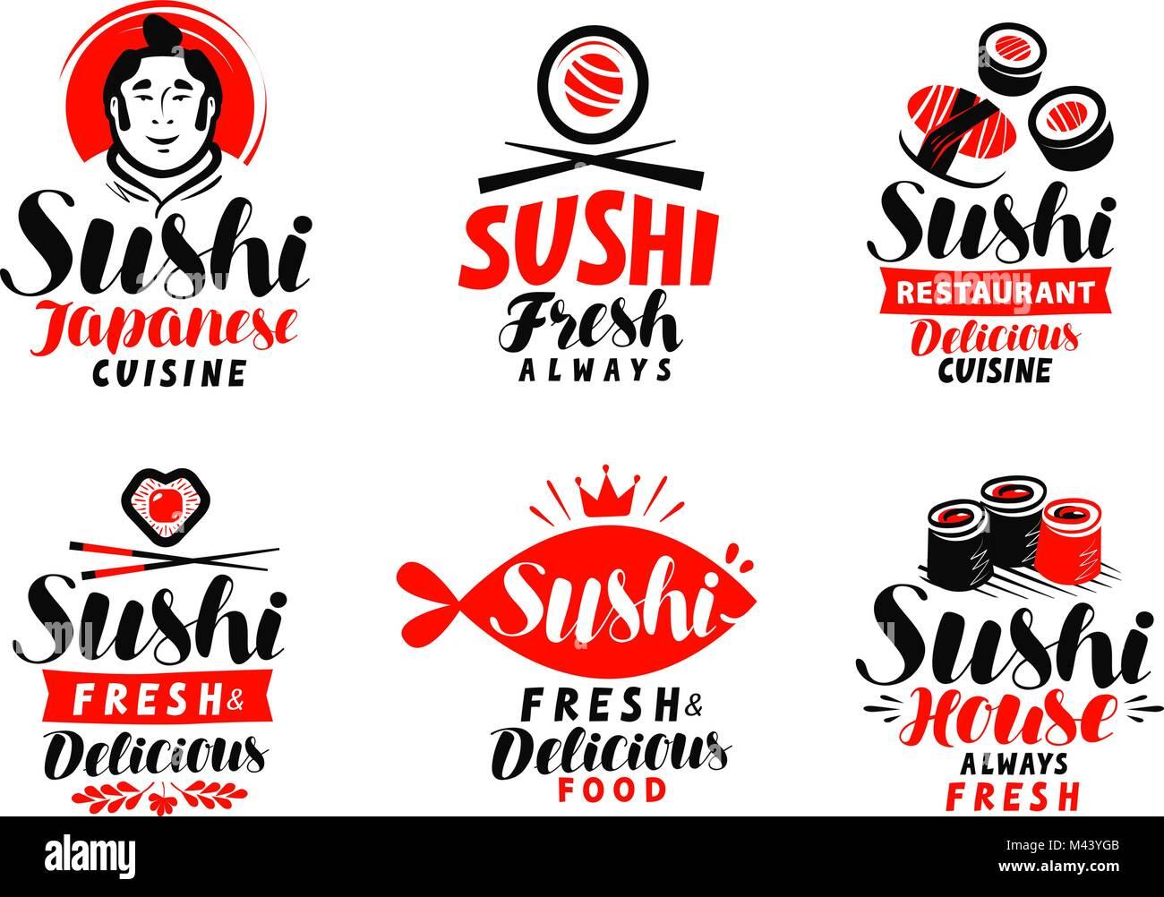 Sushi Japanese Cuisine Logo Or Label Set Of Elements For Restaurant Stock Vector Image Art Alamy