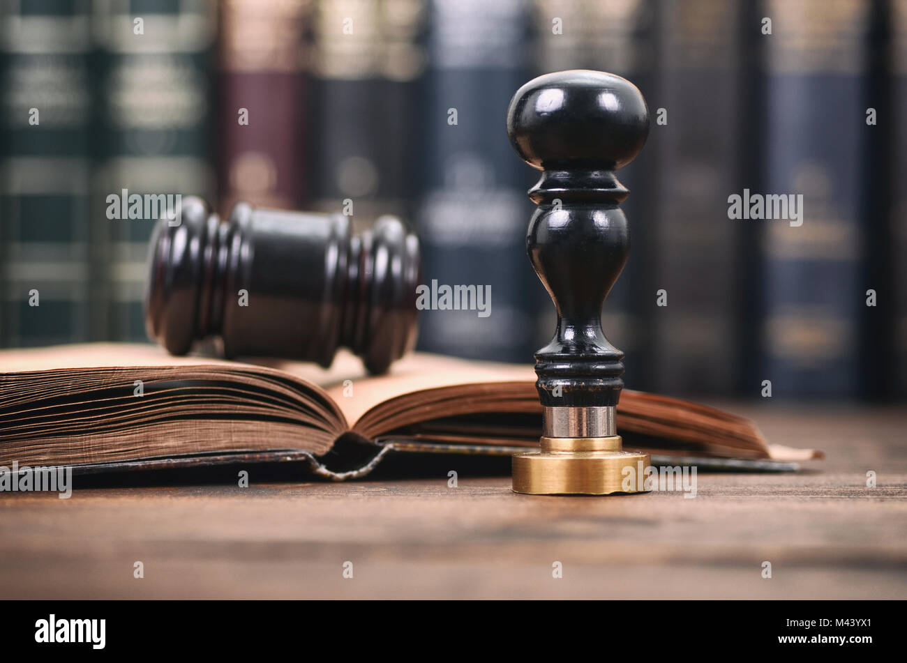 Notary seal , Judge Gavel, Notarized document concept, Legality concept. - Stock Image