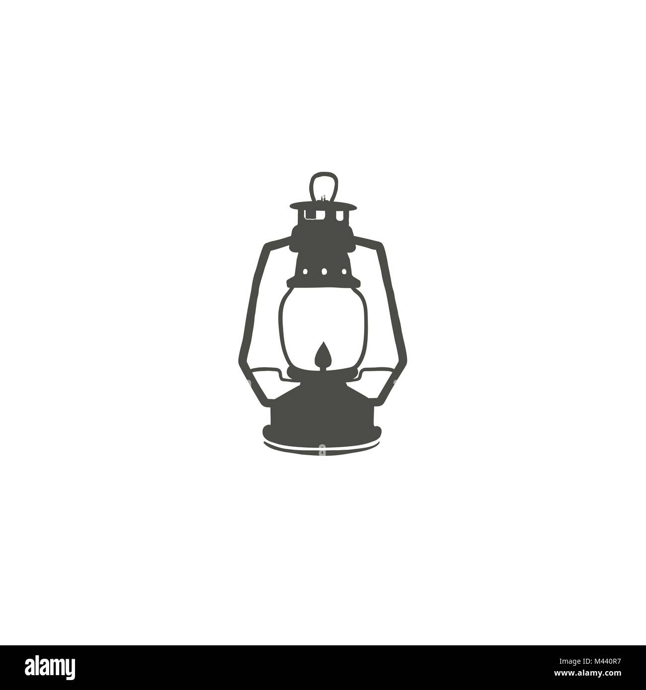 Camping lantern icon silhouette icon. Oil lamp black symbol, pictogram. Stock vector illustration isolated on white - Stock Image